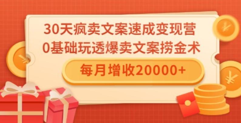0基础玩透爆卖文案捞金术!每月增收20000+